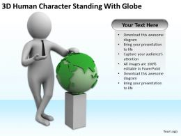 3D Human Character Standing Wiith Globe Ppt Graphics Icons Powerpoint