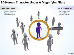 3D Human Character Under A Magnifying Glass Ppt Graphics Icons Powerpoint