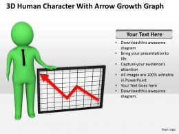 3D Human Character With Arrow Growth Graph Ppt Graphics Icons Powerpoint