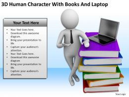 3D Human Character With Books And Laptop Ppt Graphics Icons Powerpoint