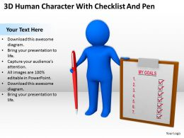 3D Human Character With Checklist And Pen Ppt Graphics Icons Powerpoint