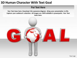 3D Human Character With Text Goal Ppt Graphics Icons PowerPoint