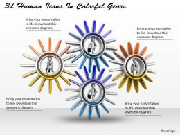 3d Human Icons In Colorful Gears Ppt Graphics Icons Powerpoint