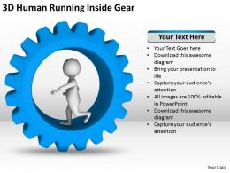 3D Human Running Inside Gear Ppt Graphics Icons Powerpoint