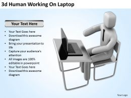 3d Human Working On Laptop Ppt Graphics Icons