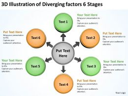 3d illustraion of diverging factors 6 stages Circular Network PPT PowerPoint templates