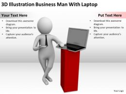 3D Illustration Business Man With Laptop Ppt Graphics Icons Powerpoint