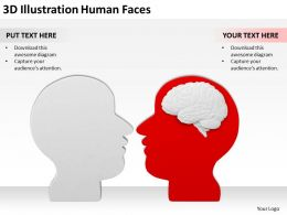 3D Illustration Human Faces Ppt Graphics Icons