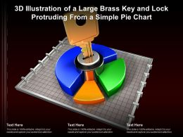 3d Illustration Of A Large Brass Key And Lock Protruding From A Simple Pie Chart