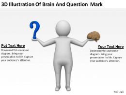 3D Illustration Of Brain And Question Mark Ppt Graphics Icons