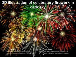 3D Illustration Of Celebratory Firework In Dark Sky