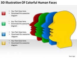 3D Illustration Of Colorful Human Faces Ppt Graphics Icons Powerpoint