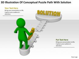 3D Illustration Of Conceptual Puzzle Path With Solution Ppt Graphics Icons Powerpoint