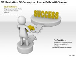 3D Illustration Of Conceptual Puzzle Path With Success Ppt Graphics Icons Powerpoint
