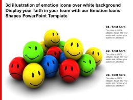 3d Illustration Of Emotion Icons Over White Display Your Faith In Your Team With Our Emotion Icons Shapes Template