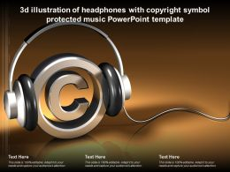 3d Illustration Of Headphones With Copyright Symbol Protected Music Powerpoint Template