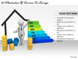 3d Illustration Of Increase In Savings Ppt Graphics Icons Powerpoint