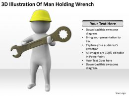 3D Illustration Of Man Holding Wrench Ppt Graphics Icons Powerpoint
