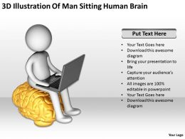 3D Illustration Of Man Sitting Human Brain Ppt Graphics Icons
