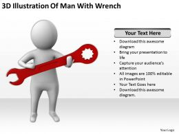 3D Illustration Of Man With Wrench Ppt Graphics Icons Powerpoint