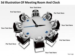 3D Illustration Of Meeting Room And Clock Ppt Graphics Icons