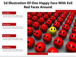 3d Illustration Of One Happy Face With Evil Red Faces Around