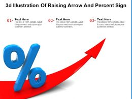 3d Illustration Of Raising Arrow And Percent Sign