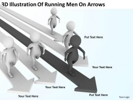 3D Illustration Of Running Men On Arrows Ppt Graphics Icons Powerpoint