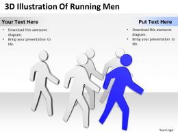 3D Illustration Of Running Men Ppt Graphics Icons