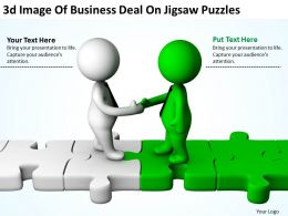 3D Image Of Business Deal On Jigsaw Puzzles Ppt Graphics Icons