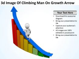 3D Image Of Climbing Man On Growth Arrow Ppt Graphics Icons