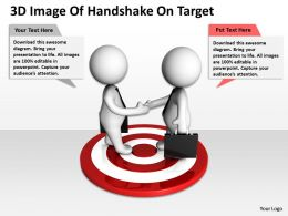 3D Image Of Handshake On Target Ppt Graphics Icons Powerpoint