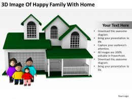 3D Image Of Happy Family With Home Ppt Graphics Icons Powerpoint