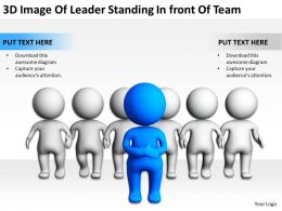 3D Image Of Leader Standing Infront Of Team Ppt Graphics Icons Powerpoin