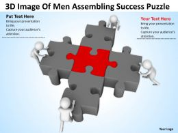 3D Image Of Men Assembling Success Puzzle Ppt Graphics Icons Powerpoint