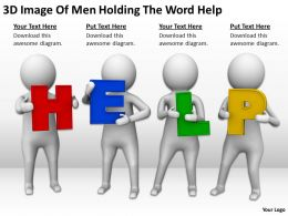 3D Image Of Men Holding The Word Help Ppt Graphics Icons Powerpoint
