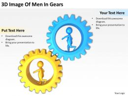3D Image Of Men In Gears Ppt Graphics Icons