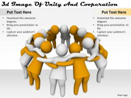 3d Image Of Unity And Cooperation Ppt Graphics Icons Powerpoint
