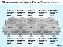 3d interconnected jigsaw puzzle pieces 10 stages powerpoint templates