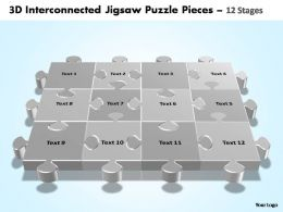 3d interconnected jigsaw puzzle pieces 12 stages powerpoint templates