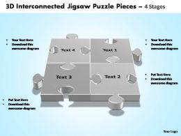 3d interconnected jigsaw puzzle pieces 4 stages powerpoint templates