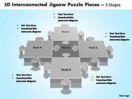 3d interconnected jigsaw puzzle pieces 5 stages powerpoint templates