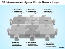 3d interconnected jigsaw puzzle pieces 6 stages powerpoint templates