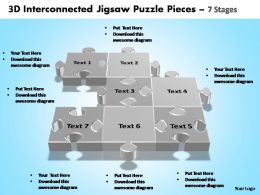 3d interconnected jigsaw puzzle pieces 7 stages powerpoint templates