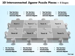 3d interconnected jigsaw puzzle pieces 8 stages powerpoint templates