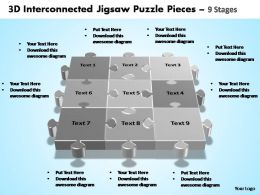 3d interconnected jigsaw puzzle pieces 9 stages powerpoint templates