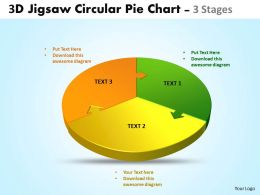 3d jigsaw circular diagram pie chart 3 stages style 4 powerpoint templates 5