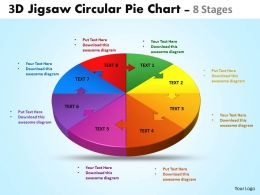 3d jigsaw circular diagram pie chart 8 stages powerpoint templates 5