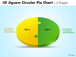 3d jigsaw circular pie chart 2 stages style 4 powerpoint 5