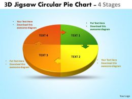 3d jigsaw circular pie chart 4 stages style 4 powerpoint templates 4